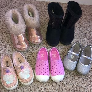 Other - Lot of 5 pairs toddler girl shoes boots size 7 8